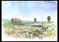 Abandonded farm house on Colony Lane, watercolor on paper, 11in by 15in