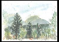 Spanish Peaks from the Reed's deck, watercolor on paper, 11in by 15in