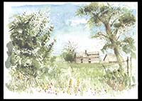 Abandoned farmhouse near Music Pass, watercolor on paper, 11in by 15in